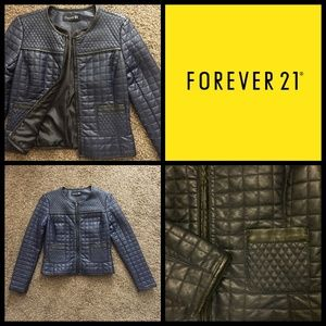 Navy & Black Vegan Quilted Leather Jacket